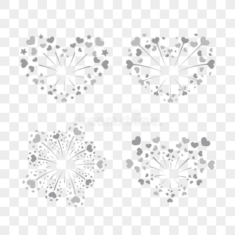 Beautiful heart-fireworks set. Romantic salute isolated on transparent background. Love decoration flat firework. Symbol vector illustration