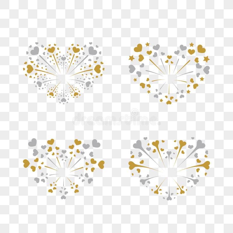 Beautiful heart-fireworks set. Romantic salute on transparent background. Love decoration flat firework. Symbol vector illustration