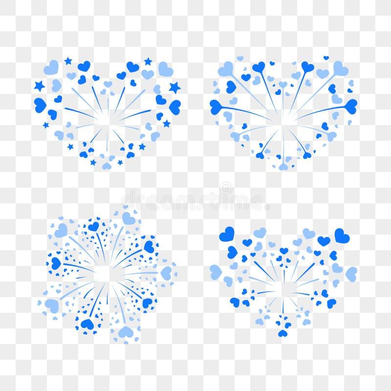 Beautiful heart-fireworks set. Romantic salute on transparent background. Love decoration flat firework. Symbol stock illustration