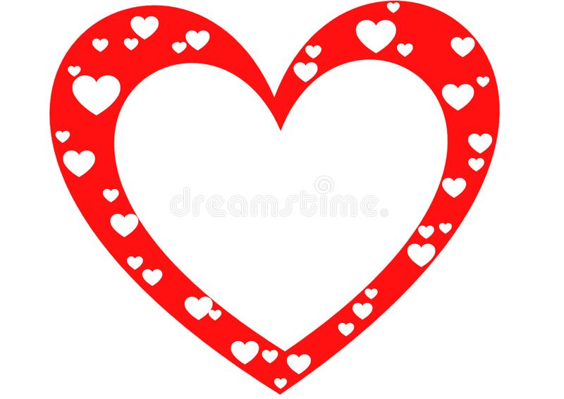 Beautiful heart frame for Valentine`s day red white color royalty free illustration