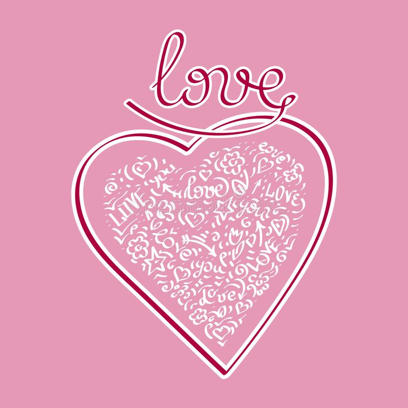 Beautiful Heart. Love - text. Doodle hand drawing. Words and phrases about love. Vector royalty free illustration