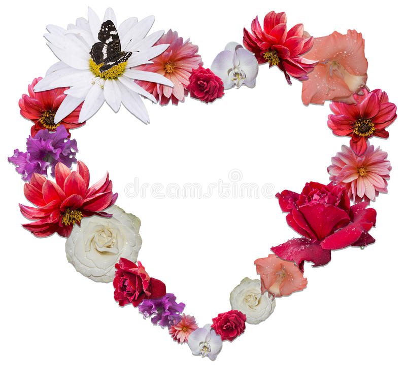 Beautiful heart made of different flowers as a symbol of love. On white background royalty free stock photo