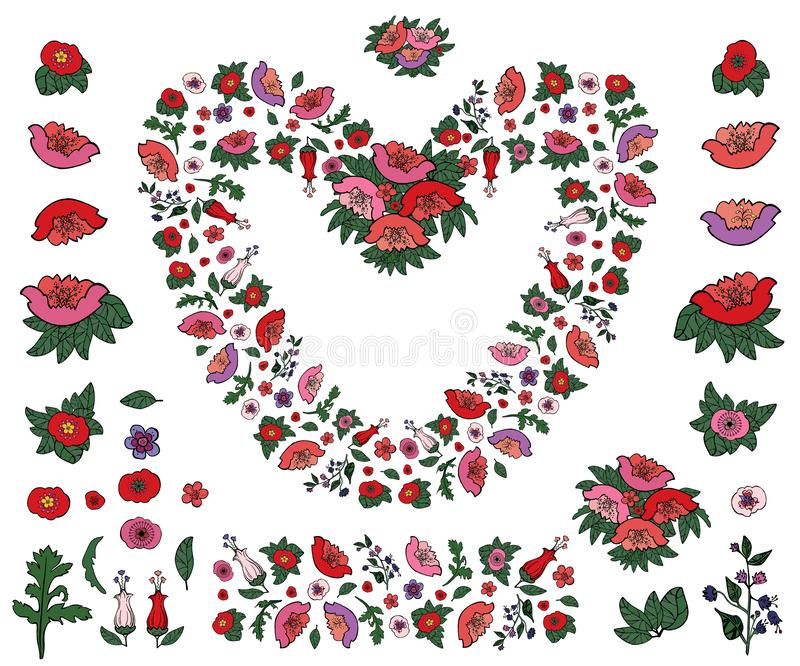 Beautiful heart made of poppies and tulips with endless border isolated on white background royalty free illustration