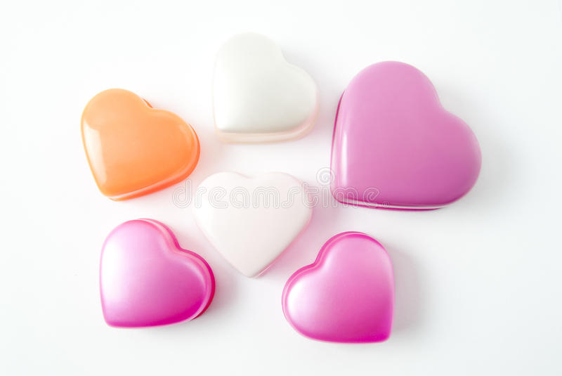 Beautiful heart shaped boxes for jewelry. Beautiful boxes for jewelry in the shape of the heart stock photos