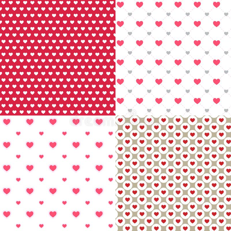 Beautiful hearts contour abstract 4 seamless patterns backgrounds. for wallpaper, pattern, web, blog, surface, textures, graphic stock illustration