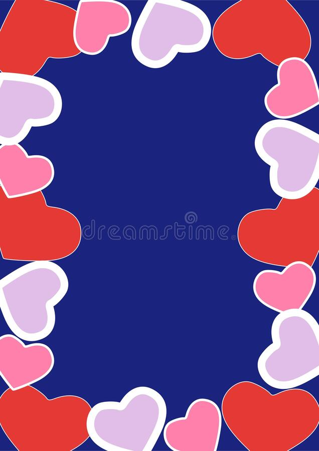Beautiful hearts pattern, abstract white background, graphic design illustration wallpaper, valentine's day greeting card. Beautiful red hearts pattern in royalty free illustration