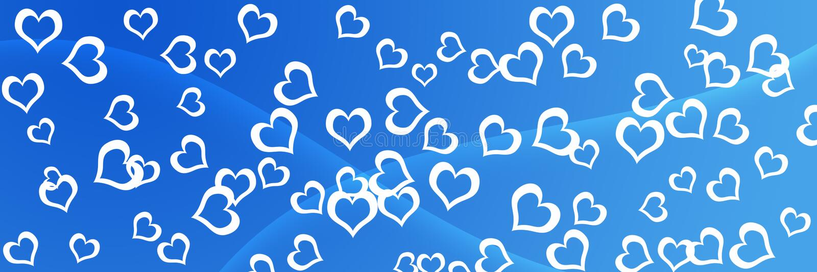 Beautiful Hearts Pattern Header Background. On Blue  Gradient for websites, webpages, posters, banners, presentations , letters , greeting cards stock photo