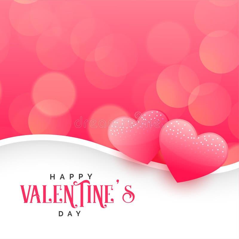 Beautiful hearts on pink bokeh background royalty free illustration