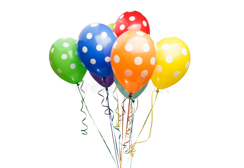 Beautiful helium balloons. On a white background royalty free stock photos