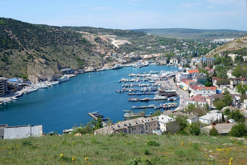 Hidden sea bay of Balaclava town in Crimea. Beautiful hidden sea bay of Balaclava town in Crimea royalty free stock photos