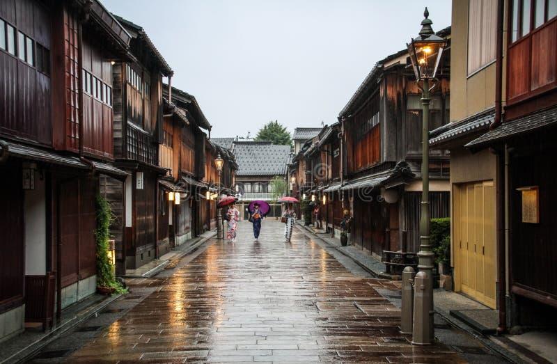 The beautiful Higashi Chaya District with geishas walking around, Kanazawa, Chubu prefecture, Japan. A chaya lit. teahouse is an exclusive type of restaurant royalty free stock images