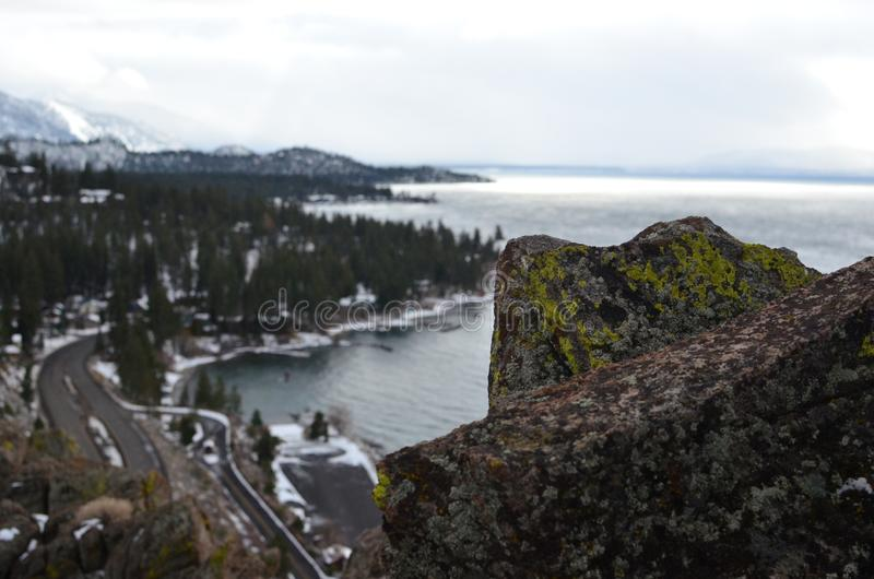 Beautiful high angle shot of cave rock in Lake Tahoe royalty free stock photos
