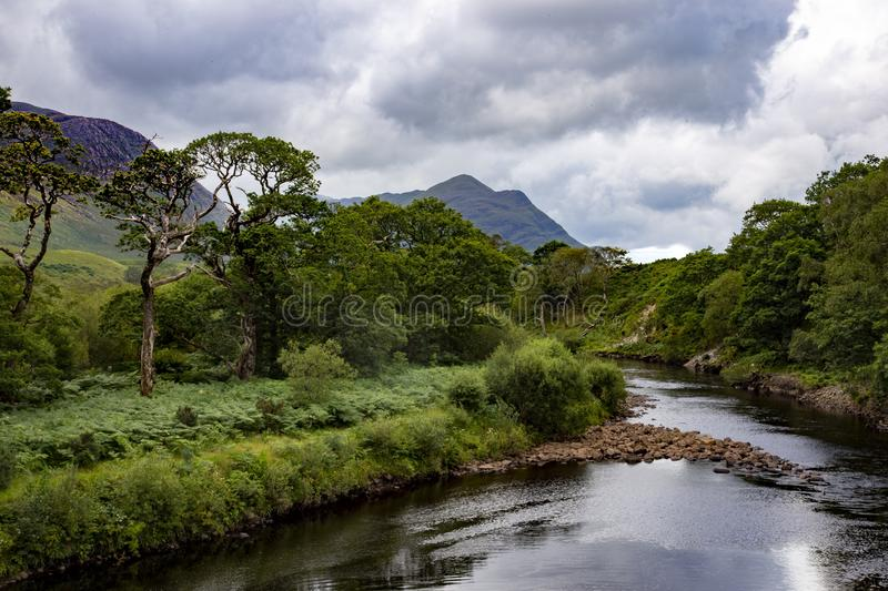 Beautiful high angle shot of the River Erriff in the mountains of Country Mayo in Ireland stock photos