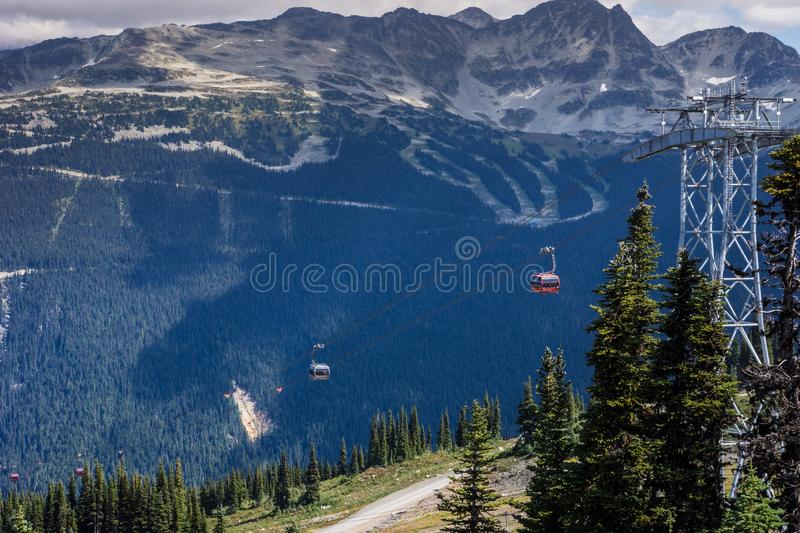 Beautiful high angle shot of the starting point of the Peak Cablecar, Whistler in Canada. A beautiful high angle shot of the starting point of the Peak Cablecar stock image
