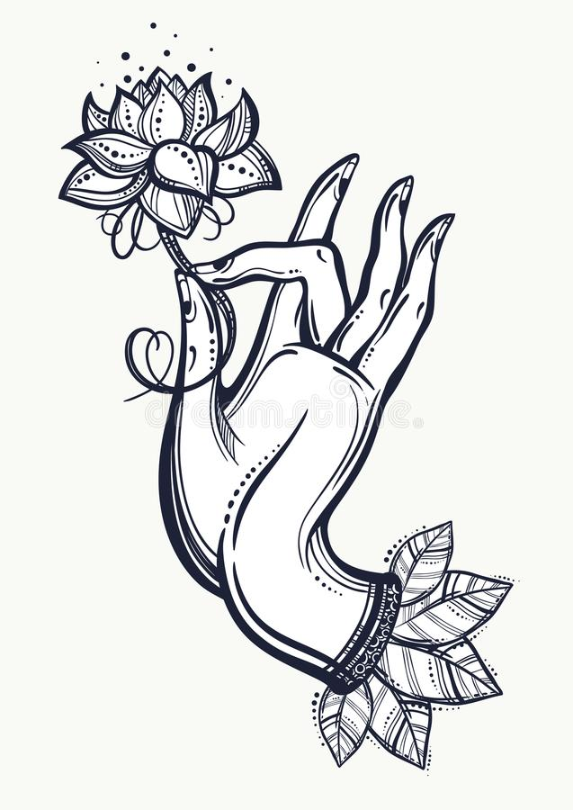 Beautiful high-detailed Buddha`s hand holding Lotus flower. Indian, Buddhism, Spiritual motifs. Engraved vector art isolated. Tattoo, spiritualy, yoga stock illustration