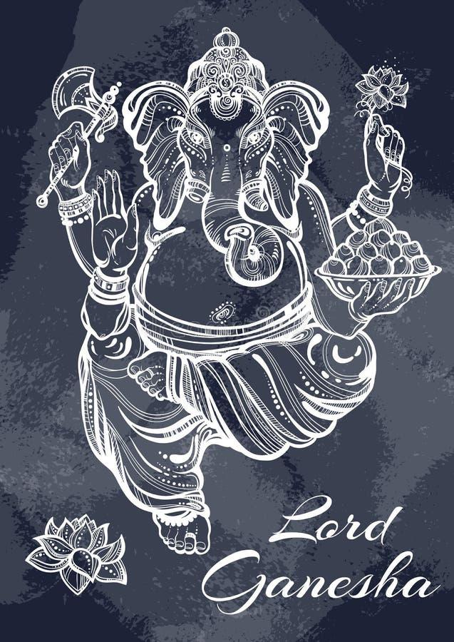 Beautiful high-detailed Lord Ganesha over the blackboard. Vintage chalk. Graphic vector illustration, tattoo art, yoga, Indian. stock illustration