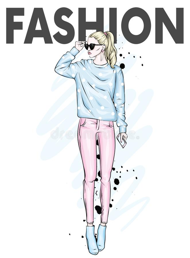 Beautiful high in pants, glasses and a sweatshirt. Stylish clothes and accessories. Fashionable woman. Vector illustration. vector illustration