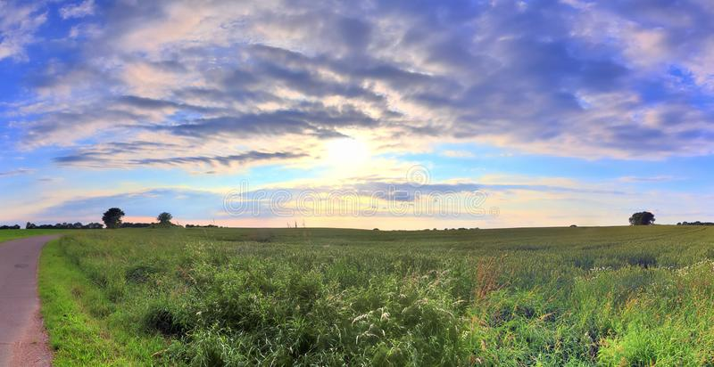Beautiful high resolution summer landscape with fields, green grass and a stunning summer sky taken in northern germany. Beautiful high resolution summer royalty free stock image