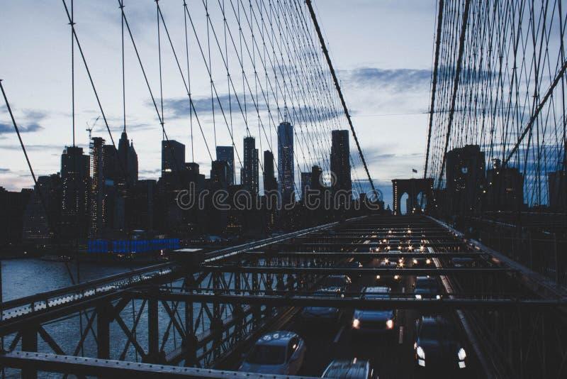 A beautiful high shot of Manhattan Bridge royalty free stock photos
