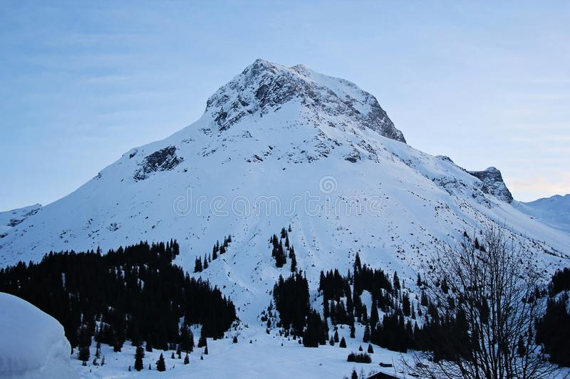 Beautiful High Winter Snowy Mountain Peak. In the Alps royalty free stock photos