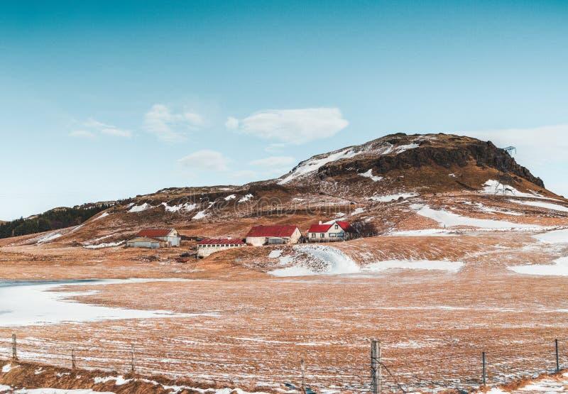Beautiful highland iceland blue lake near Hekla among snow mountains. Photo taken in Iceland stock photo
