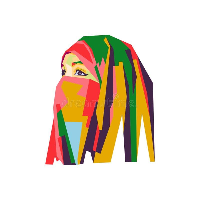 Arabian girl in pop art illustration stock illustration