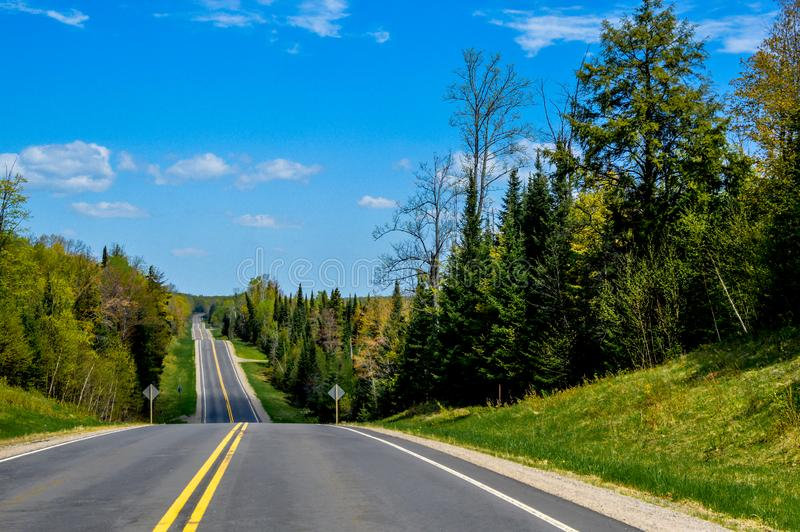 Beautiful Roadscape in the Northwoods of Wisconsin royalty free stock image