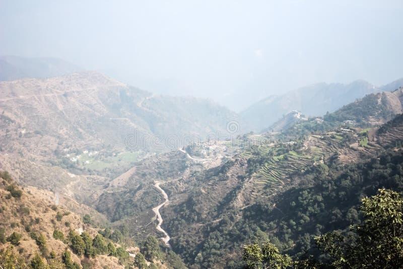 Beautiful Himalayan mountains view from Kunjapuri temple, Uttarakhand, India stock photo