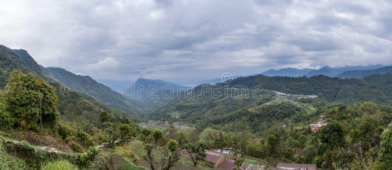 Beautiful Himalayas mountains amazing landscape panoramic photo. At Mardi Himal trekking area in Nepal stock photos