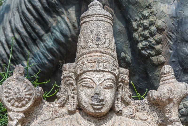 Beautiful Hindu god lord vishnu stone carving stock images