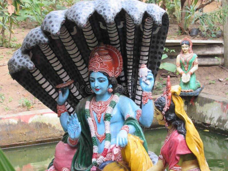 Beautiful hindu god vishnu and laxmi  statue at the Temple area of puri dham Odisha royalty free stock photography