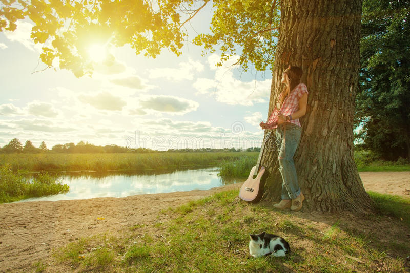 Beautiful hippie girl stock images