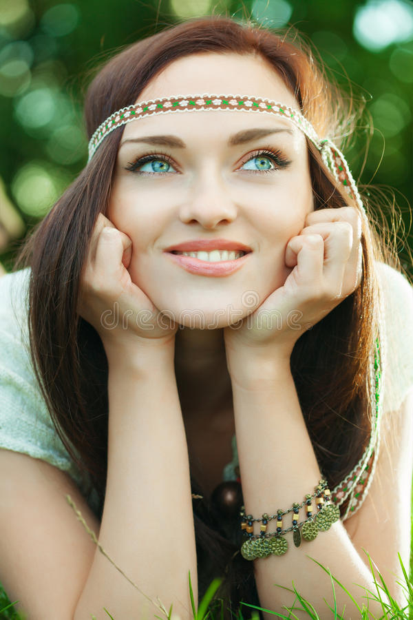 Download Beautiful hippie girl stock photo. Image of eyes, hippie - 26935672