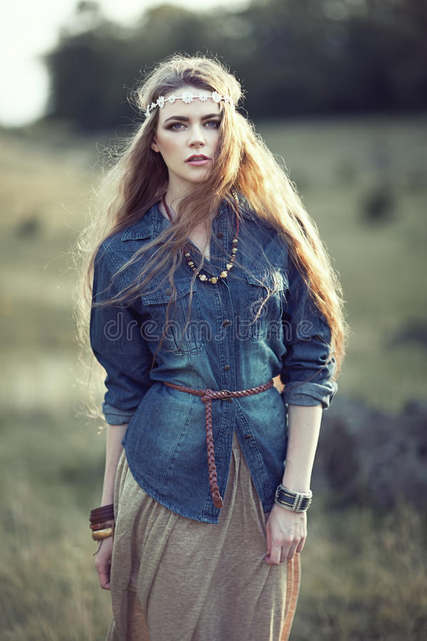 Free Beautiful Hippie Girl Royalty Free Stock Images - 45372449