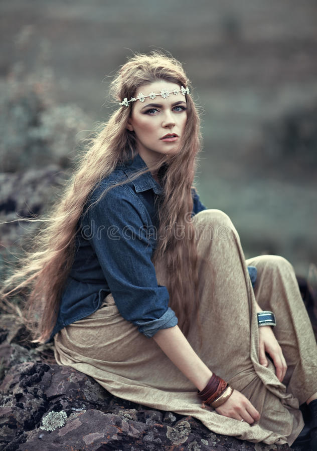 Free Beautiful Hippie Girl Royalty Free Stock Images - 45372469