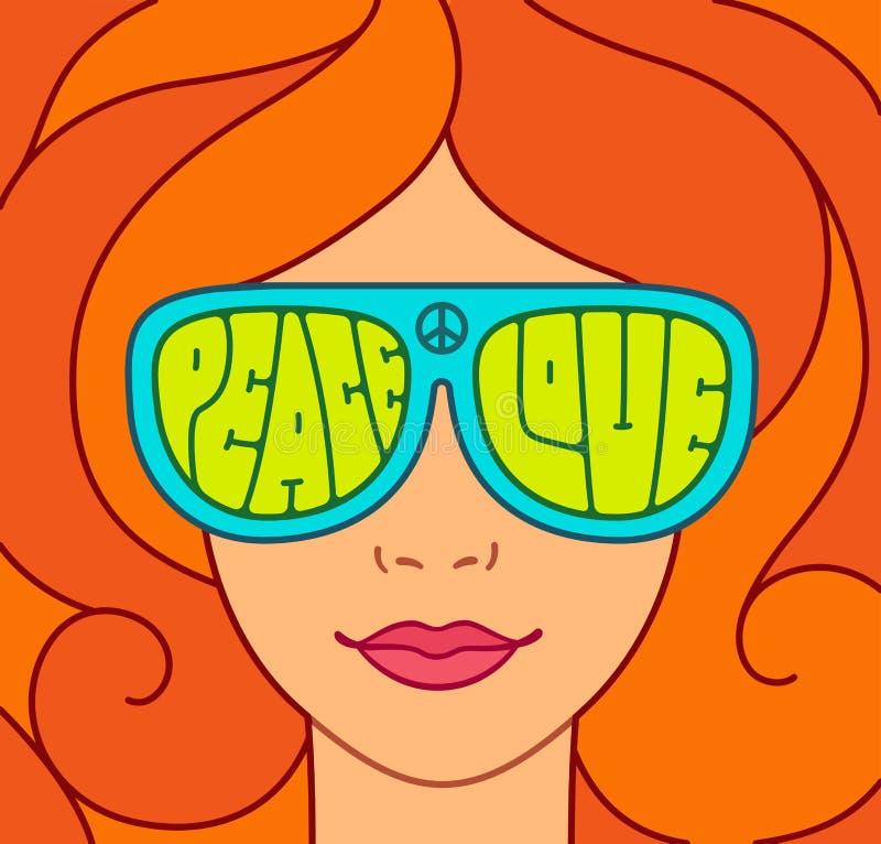 Beautiful hippie girl royalty free illustration