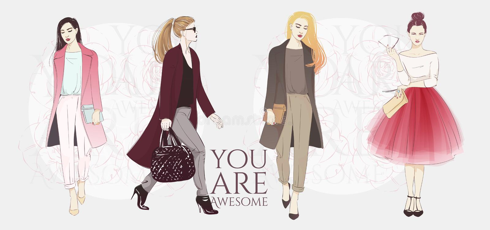 Beautiful hipster young women in a fashion jackets, retro clothes and pants. Vector hand drawn sketch illustration. royalty free illustration