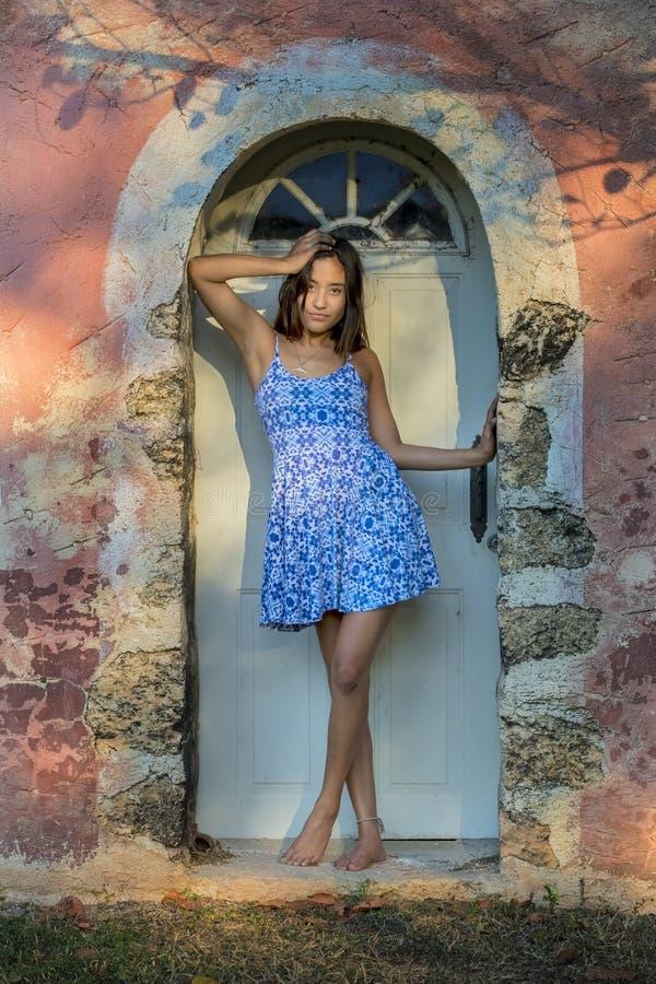 Hispanic Brunette Model Enjoying A Sunny Day royalty free stock image