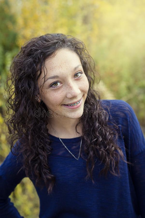 Beautiful Hispanic Teen Girl portrait with braces stock photography