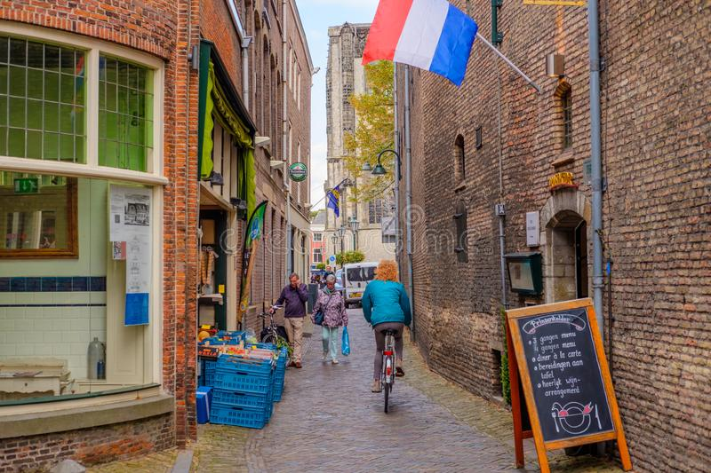 Beautiful historic alley next to the Prinsenhof in Delft, the Netherlands stock photography