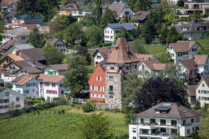 Beautiful historic buildings and churches. In Vaduz,Liechtenstein, Europe royalty free stock photo