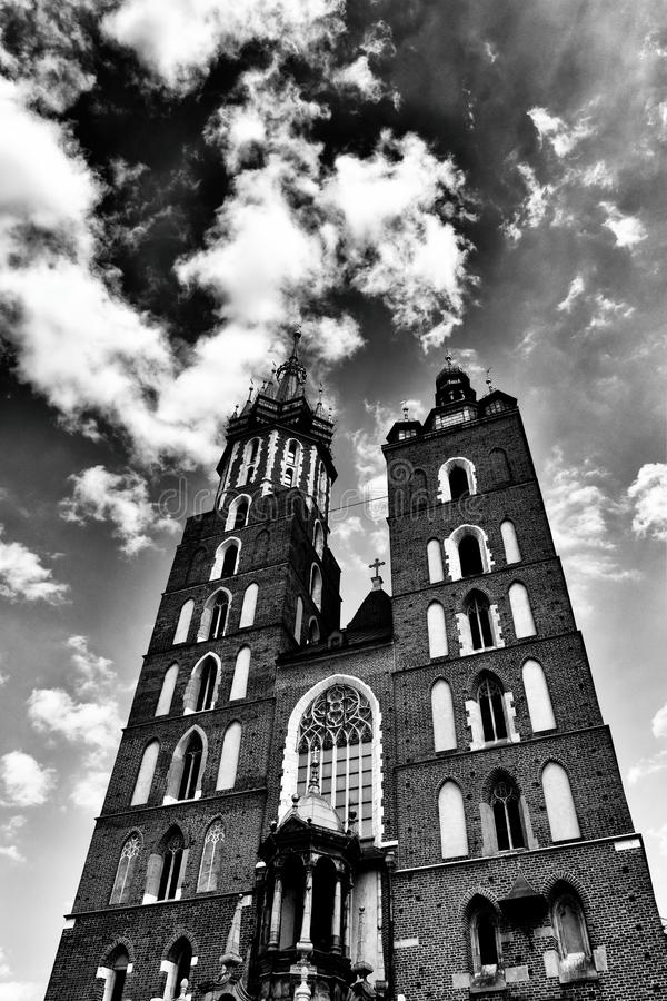 Historic historic St. Mary`s church in Cracow, Poland on a warm summer day stock photo