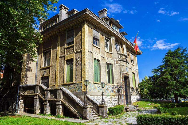 beautiful historical building in the historic Cetinje, Montenegro (until 1916 was the French Embassy) stock images
