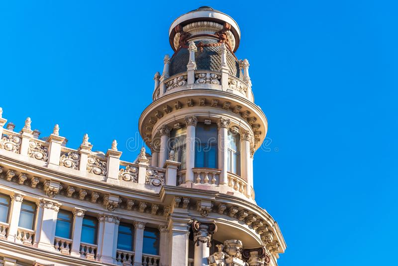 Beautiful historical building of old architecture in the city center, Madrid, Spain. Copy space for text royalty free stock photo