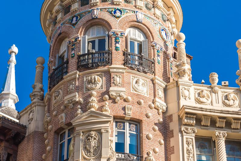 Beautiful historical building of old architecture in the city center, Madrid, Spain. Close-up. Beautiful historical building of old architecture in the city stock photo