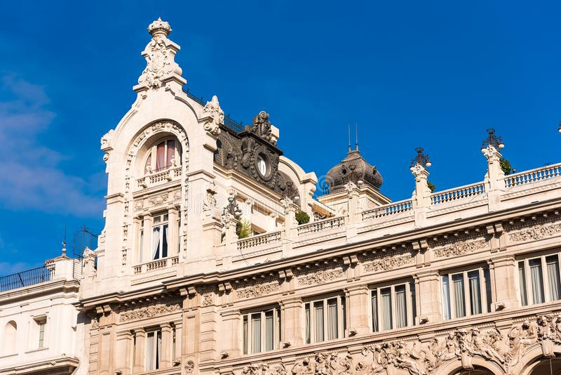 Beautiful historical building of old architecture in the city center, Madrid, Spain. Copy space for text. Beautiful historical building of old architecture in royalty free stock photo
