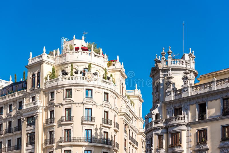 Beautiful historical building of old architecture in the city center, Madrid, Spain. Copy space for text. Beautiful historical building of old architecture in stock photos