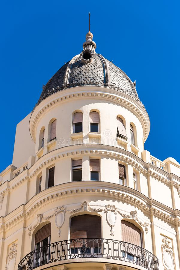 Beautiful historical building of old architecture in the city center, Madrid, Spain. Copy space for text. Vertical. Beautiful historical building of old stock images