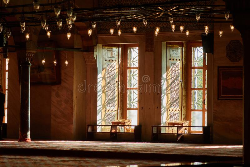 Interior view from the Blue Mosque,. Beautiful historical interior inside the blue mosque Istanbul Turkey royalty free stock photography