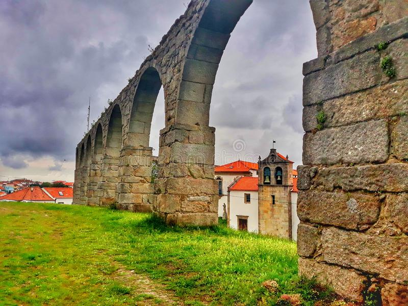 The beautiful history of Portugal. History of Portugal, sky, houses stock image
